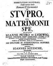 Dissertatione inaug. differentias iuris Romani et Germanici in stupro sub matrimonii spe