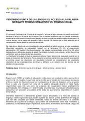 FENÓMENO PUNTA DE LA LENGUA: EL ACCESO A LA PALABRA MEDIANTE PRIMING SEMÁNTICO VS. PRIMING VISUAL