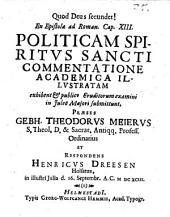 Ex epistolae ad Roman. C.XIII., politicam Spiritus Sancti commentatione academica illustratam