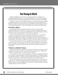 Test Prep Level 5: Too Young to Work Comprehension and Critical Thinking