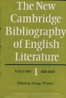 The New Cambridge Bibliography of English Literature  Volume 1  600 1660 PDF