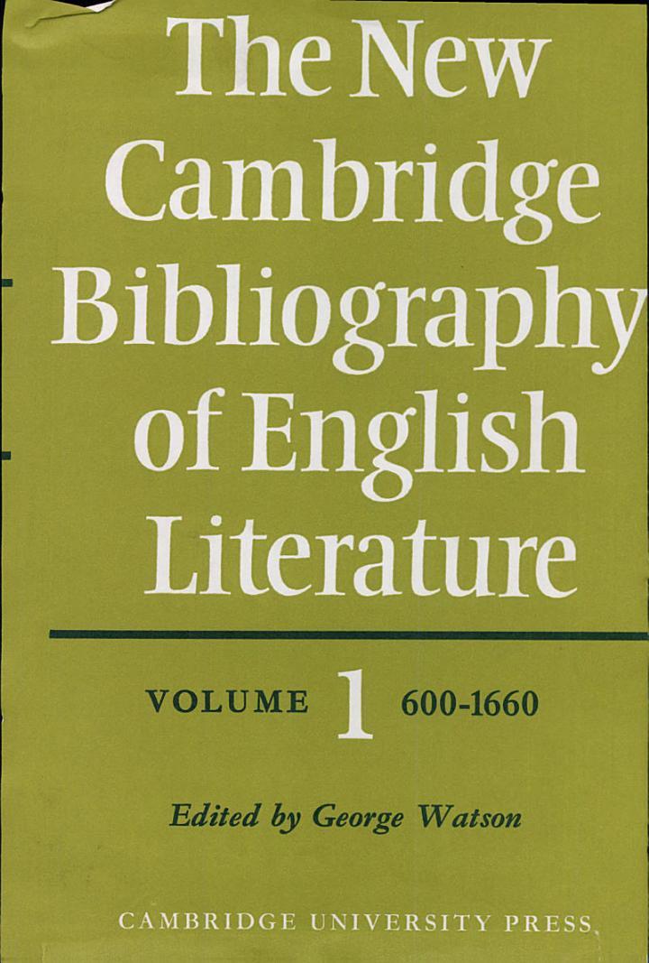 The New Cambridge Bibliography of English Literature: Volume 1, 600-1660