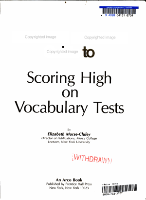 Webster s New World Guide to Scoring High on Vocabulary Tests