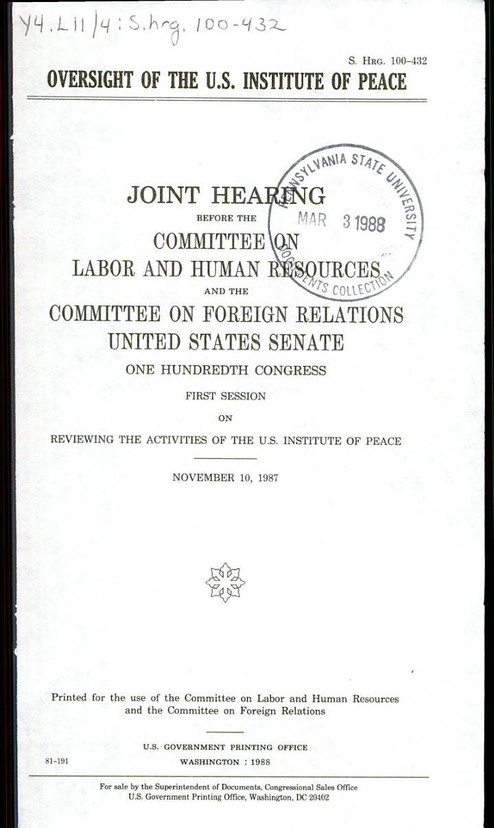Oversight of the U.S. Institute of Peace
