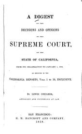 A digest of the decisions and opinions of the Supreme Court, of the state of California: from its organization to January 1, 1859, as reported in the California reports, vols. 1 to 10, inclusive