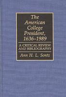 The American College President  1636 1989 PDF