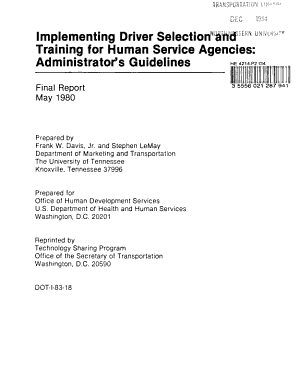 Implementing Driver Selection and Training for Human Service Agencies