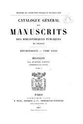 Catalogue général des manuscrits des bibliothèques publiques de France: Volume32