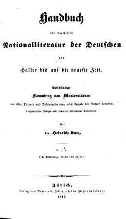 Handbuch der poetischen Nationalliteratur der Deutschen von Haller bis auf die neueste zeit PDF