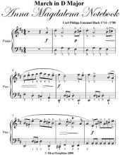 March In D Major Anna Magdalena Notebook - Easy Piano Sheet Music