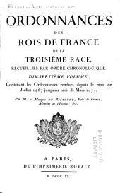 Ordonnances des roys de France de la troisième race: recueillies par ordre chronologique ...