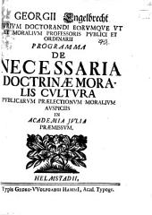 Programma de necessaria doctrinae moralis cultura