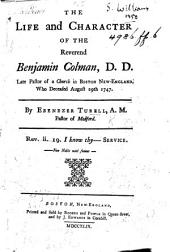 The Life and Character of the Reverend Benjamin Colman ...