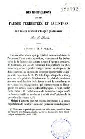 Modifications des faunes terrestres et lacustres pendant l'époque quaternaire (Réponse à J. Pictet)