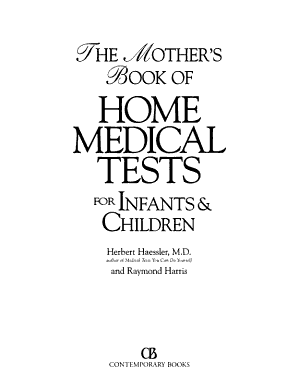 The Mother s Book of Home Medical Tests for Infants   Children