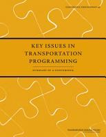 Key Issues in Transportation Programming PDF