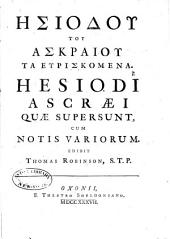 Hesiodi Ascraei quae supersunt