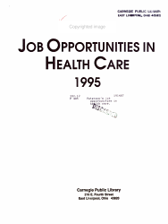 Peterson S Job Opportunities In Health Care 1995 Book PDF