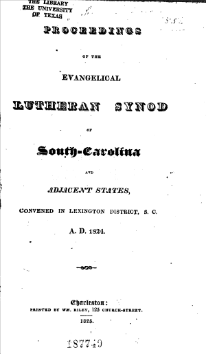 Proceedings of the     Annual Convention of the Evangelical Lutheran Synod of South Carolina     PDF