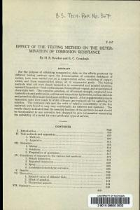 Effect of the Testing Method on the Determination of Corrosion Resistance PDF