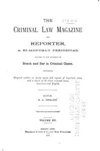 The Criminal Law Magazine and Reporter PDF