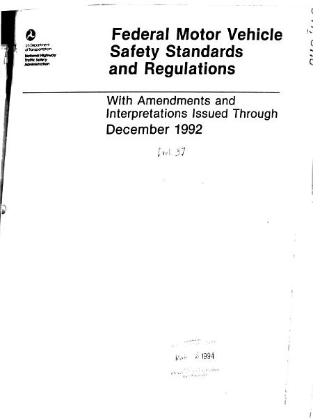 Federal Motor Vehicle Safety Standards and Regulations PDF