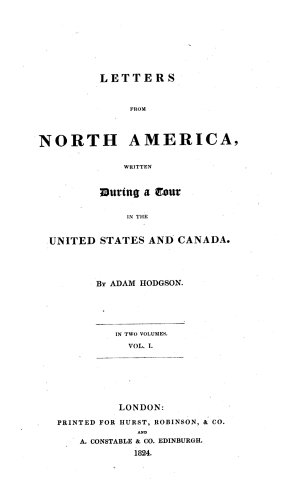 Letters from North America  Written During a Tour in the United States and Canada