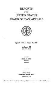 Reports of the United States Board of Tax Appeals PDF