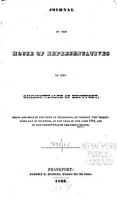 Journal of the House of the General Assembly of the Commonwealth of Kentucky