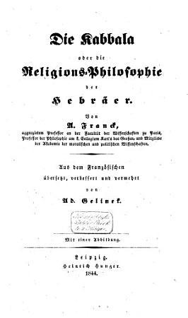 Die Kabbala oder Die Religionsphilosophie der Hebr  er PDF