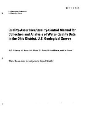 Quality assurance quality control Manual for Collection and Analysis of Water quality Data in the Ohio District  U S  Geological Survey PDF
