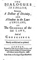The Dialogue in English  betweene a Doctor of Diuinity  and a Student in the Laws of England  Newly corrected and Imprinted  with new Additions  By C  St  German  B L  PDF