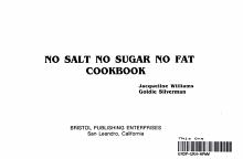 No Salt  No Sugar  No Fat Cookbook