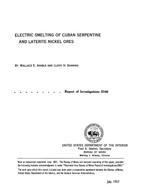 Electric Smelting of Cuban Serpentine and Laterite Nickel Ores