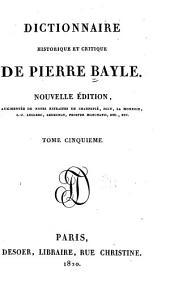 Dictionnaire historique et critique de Pierre Bayle: Volume5