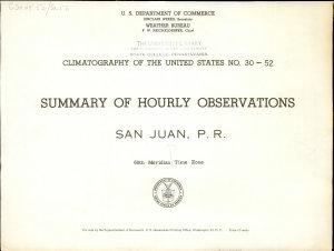 Summary of Hourly Observations  San Juan  P R