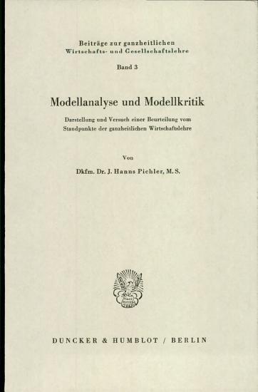 Modellanalyse und Modelkritik PDF