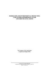 Federalism and environmental protection: case studies for drinking water and ground-level ozone