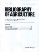 Bibliography of Agriculture Annual Cumulation, 1990