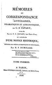 Mémoires et correspondance littéraires: dramatiques et anecdotiques, de C. S. Favart