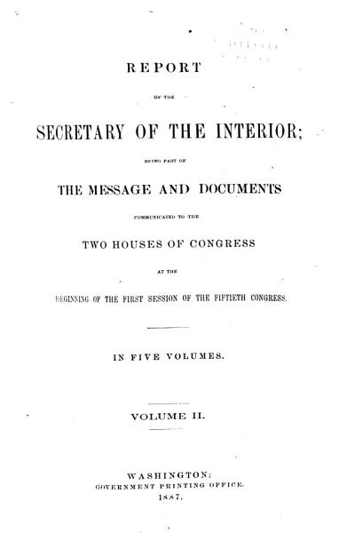 Download Report of the Department of the Interior      with Accompanying Documents   Book