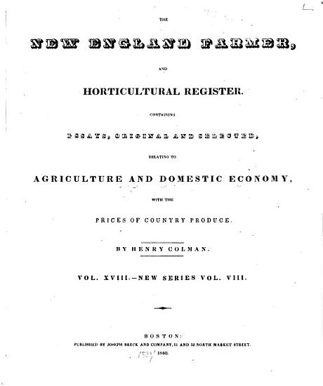 New England Farmer  and Horticultural Register PDF