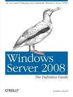 Windows Server 2008  The Definitive Guide PDF