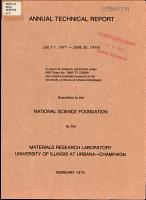 Annual Technical Report   Materials Research Laboratory  University of Illinois at Urbana Champaign PDF