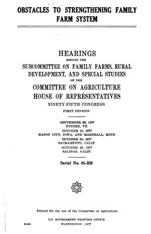 Obstacles to Strengthening Family Farm System