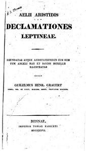 Aelii Aristidis Declamationes Leptineae ...