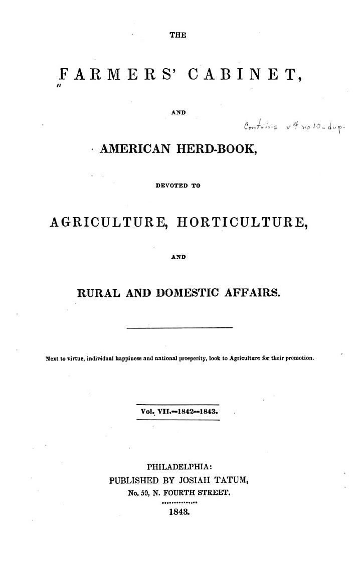 The Farmers' Cabinet, and American Herd-book