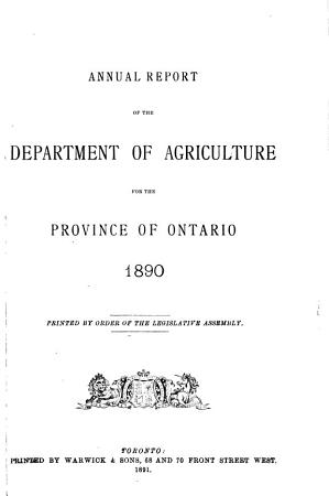 Ontario  Canada  Department of Agriculture  Annual Report PDF