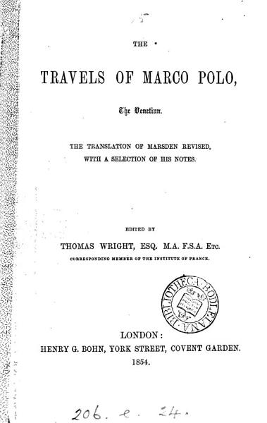 Download The Travels of Marco Polo the Venetian Book