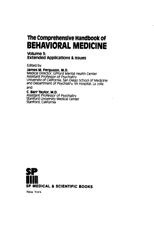 Comprehensive Handbook of Behavioral Medicine: Extended applications and issues